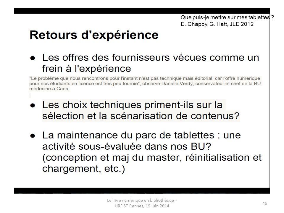 Le livre numérique en bibliothèque - URFIST Rennes, 19 juin 2014 46 Que puis-je mettre sur mes tablettes .
