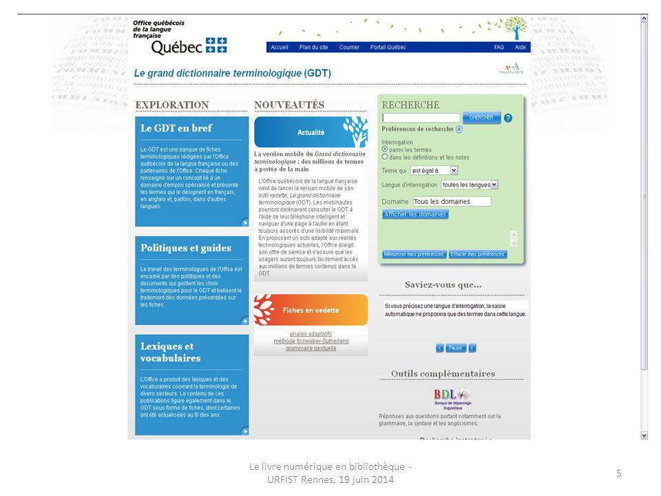 Le livre numérique en bibliothèque - URFIST Rennes, 19 juin 2014 36 SCD Rennes