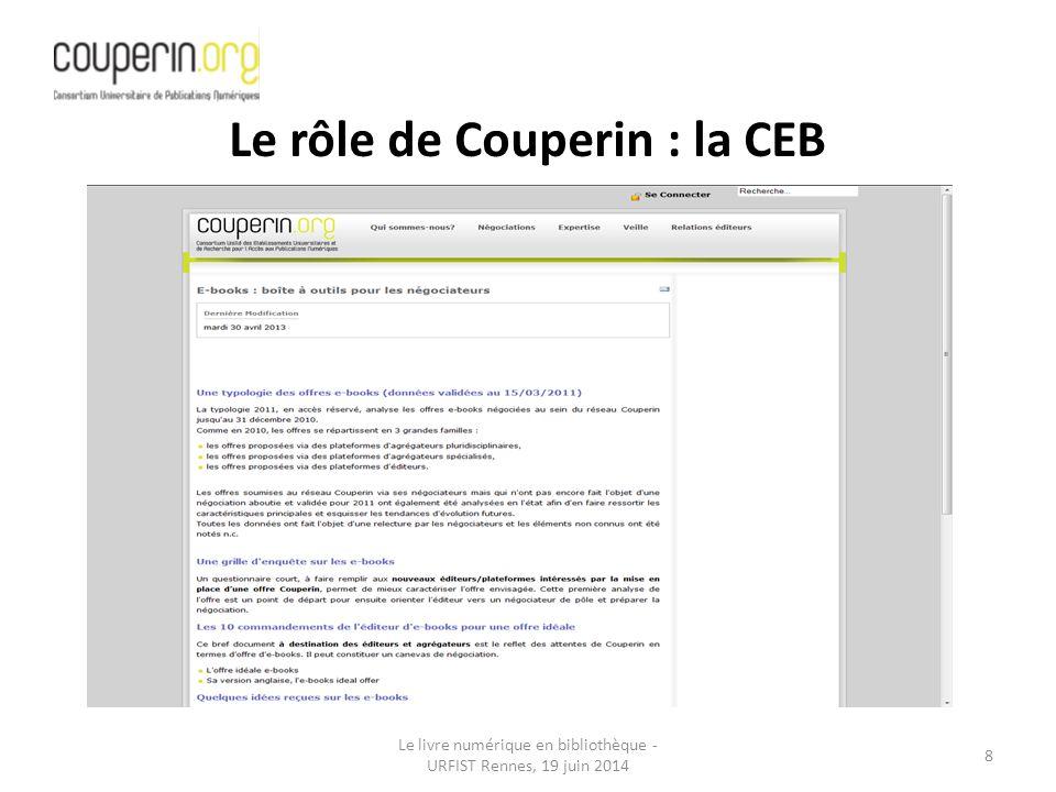 Le livre numérique en bibliothèque - URFIST Rennes, 19 juin 2014 8 Le rôle de Couperin : la CEB