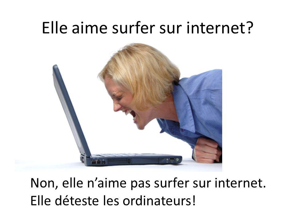 Elle aime surfer sur internet? Non, elle n'aime pas surfer sur internet. Elle déteste les ordinateurs!