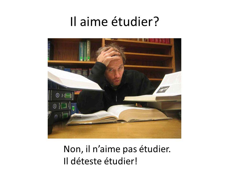 Il aime étudier? Non, il n'aime pas étudier. Il déteste étudier!