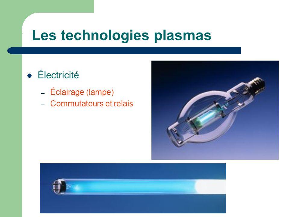 Les technologies plasmas Électricité – Éclairage (lampe) – Commutateurs et relais