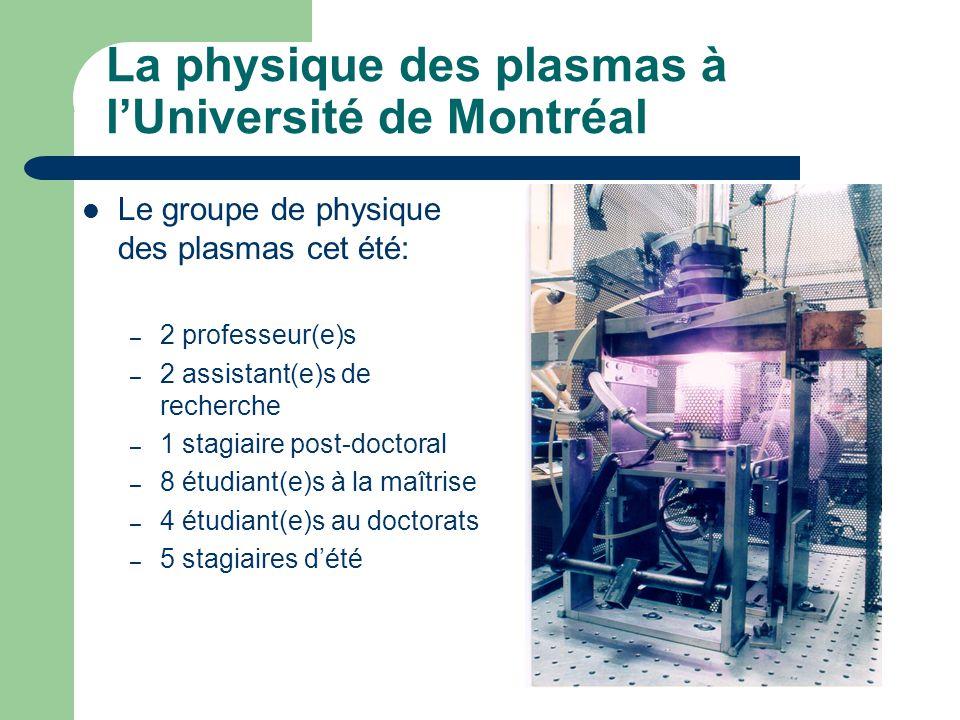 La physique des plasmas à l'Université de Montréal Le groupe de physique des plasmas cet été: – 2 professeur(e)s – 2 assistant(e)s de recherche – 1 stagiaire post-doctoral – 8 étudiant(e)s à la maîtrise – 4 étudiant(e)s au doctorats – 5 stagiaires d'été
