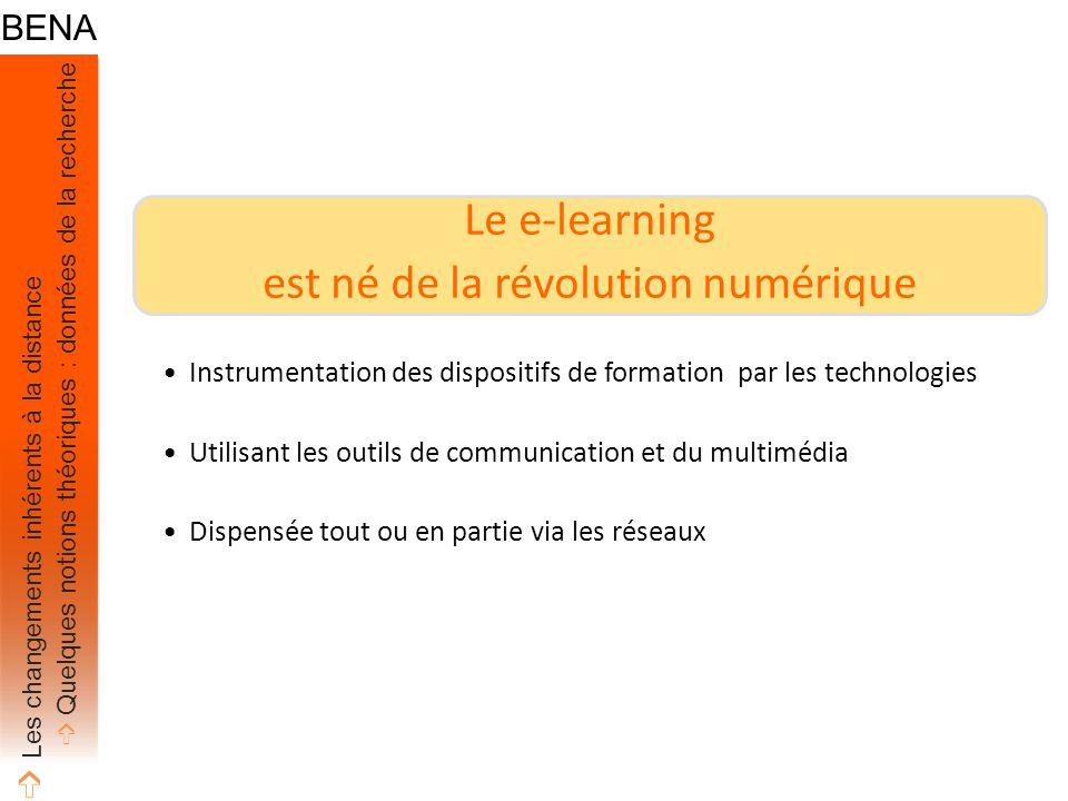 Le e-learning est né de la révolution numérique Instrumentation des dispositifs de formation par les technologies Utilisant les outils de communication et du multimédia Dispensée tout ou en partie via les réseaux ➩ Les changements inhérents à la distance ➩ Quelques notions théoriques : données de la recherche