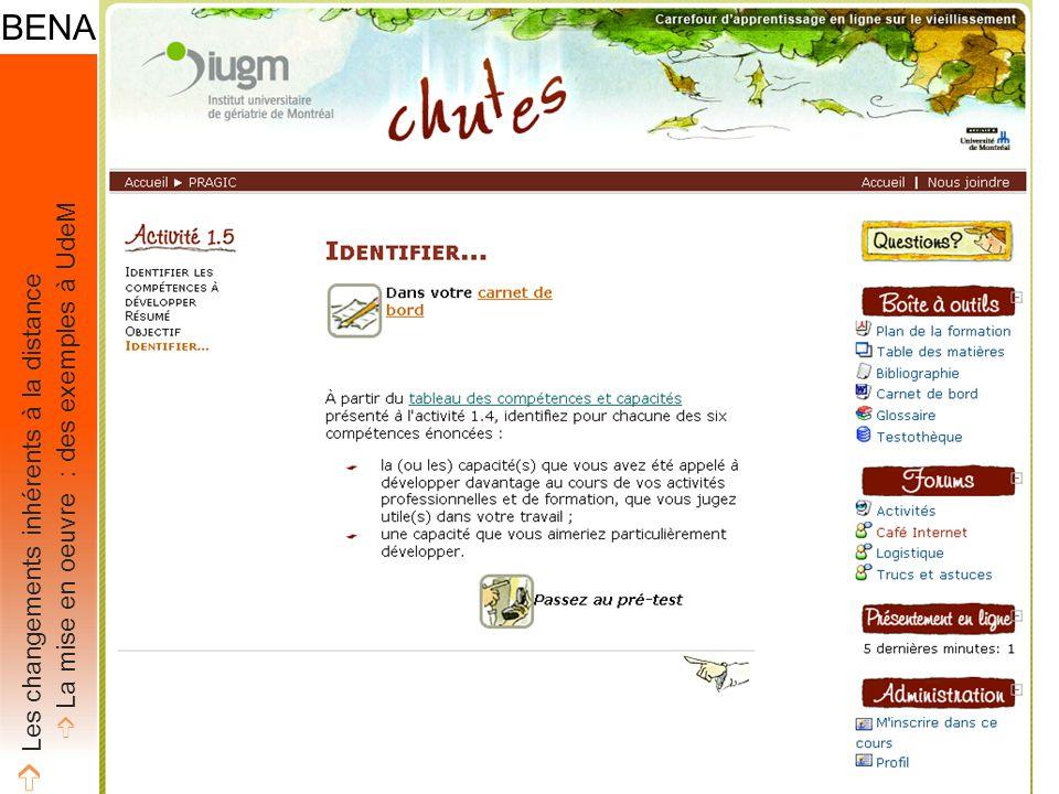 ➩ Les changements inhérents à la distance ➩ La mise en oeuvre : des exemples à UdeM