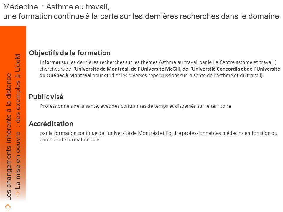 Objectifs de la formation Informer sur les dernières recherches sur les thèmes Asthme au travail par le Le Centre asthme et travail ( chercheurs de l Université de Montréal, de l'Université McGill, de l Universtié Concordia et de l'Université du Québec à Montréal pour étudier les diverses répercussions sur la santé de l'asthme et du travail).