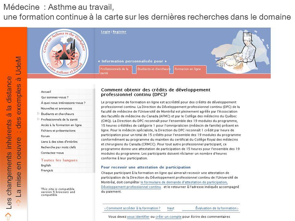 Crédits Médecine : Asthme au travail, une formation continue à la carte sur les dernières recherches dans le domaine ➩ Les changements inhérents à la distance ➩ La mise en oeuvre : des exemples à UdeM