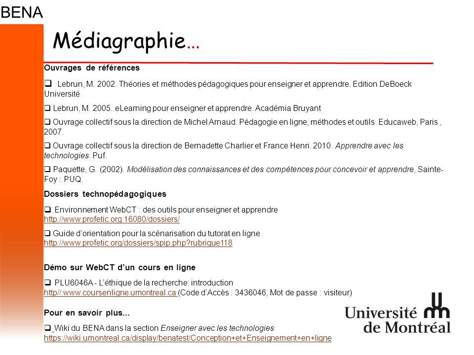 Médiagraphie… Ouvrages de références  Lebrun, M. 2002.