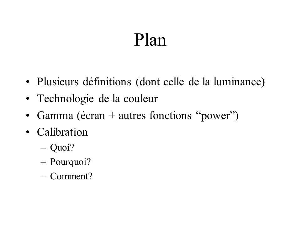 Plan Plusieurs définitions (dont celle de la luminance) Technologie de la couleur Gamma (écran + autres fonctions power ) Calibration –Quoi.