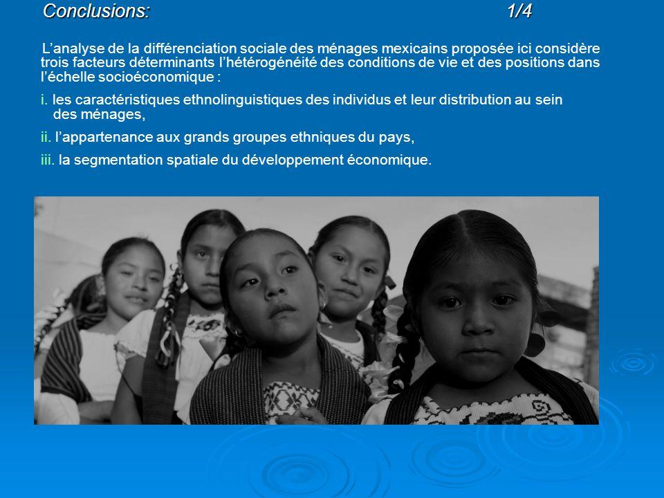 Conclusions:1/4 L'analyse de la différenciation sociale des ménages mexicains proposée ici considère trois facteurs déterminants l'hétérogénéité des conditions de vie et des positions dans l'échelle socioéconomique : i.