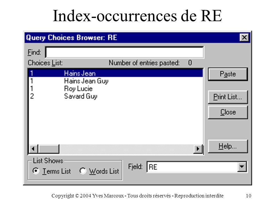 Copyright © 2004 Yves Marcoux - Tous droits réservés - Reproduction interdite10 Index-occurrences de RE