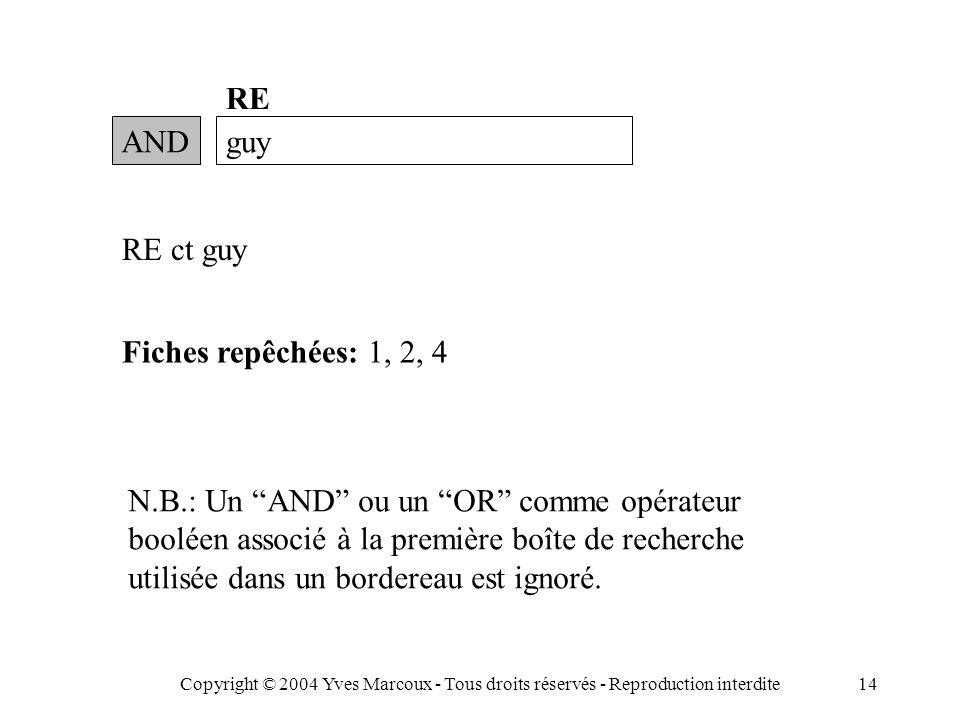 Copyright © 2004 Yves Marcoux - Tous droits réservés - Reproduction interdite14 ANDguy RE RE ct guy Fiches repêchées: 1, 2, 4 N.B.: Un AND ou un OR comme opérateur booléen associé à la première boîte de recherche utilisée dans un bordereau est ignoré.