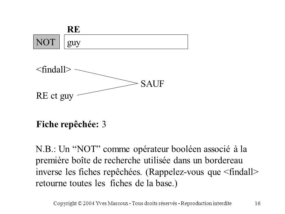 Copyright © 2004 Yves Marcoux - Tous droits réservés - Reproduction interdite16 NOTguy RE RE ct guy Fiche repêchée: 3 N.B.: Un NOT comme opérateur booléen associé à la première boîte de recherche utilisée dans un bordereau inverse les fiches repêchées.