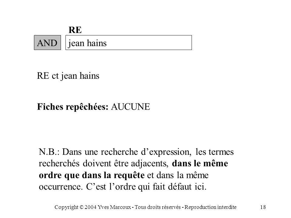 Copyright © 2004 Yves Marcoux - Tous droits réservés - Reproduction interdite18 ANDjean hains RE RE ct jean hains Fiches repêchées: AUCUNE N.B.: Dans une recherche d'expression, les termes recherchés doivent être adjacents, dans le même ordre que dans la requête et dans la même occurrence.