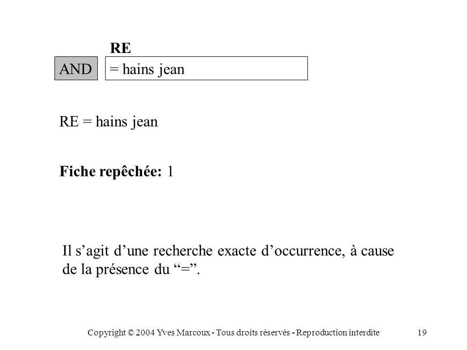 Copyright © 2004 Yves Marcoux - Tous droits réservés - Reproduction interdite19 AND= hains jean RE RE = hains jean Fiche repêchée: 1 Il s'agit d'une recherche exacte d'occurrence, à cause de la présence du = .