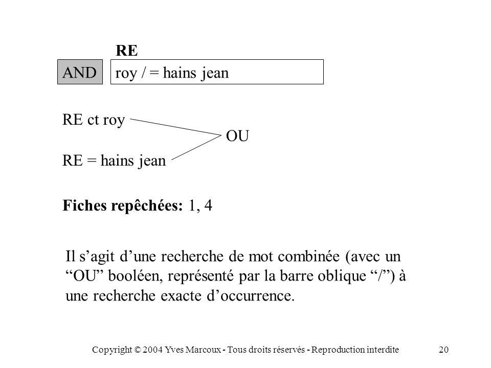 Copyright © 2004 Yves Marcoux - Tous droits réservés - Reproduction interdite20 ANDroy / = hains jean RE RE = hains jean Fiches repêchées: 1, 4 Il s'agit d'une recherche de mot combinée (avec un OU booléen, représenté par la barre oblique / ) à une recherche exacte d'occurrence.