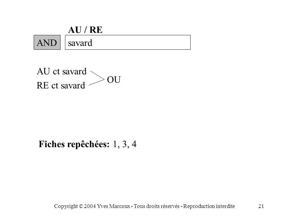 Copyright © 2004 Yves Marcoux - Tous droits réservés - Reproduction interdite21 ANDsavard AU / RE AU ct savard RE ct savard OU Fiches repêchées: 1, 3, 4
