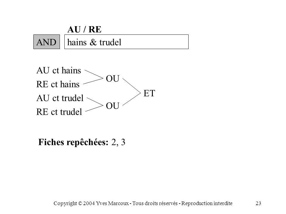 Copyright © 2004 Yves Marcoux - Tous droits réservés - Reproduction interdite23 ANDhains & trudel AU / RE AU ct hains RE ct hains AU ct trudel RE ct trudel OU ET Fiches repêchées: 2, 3