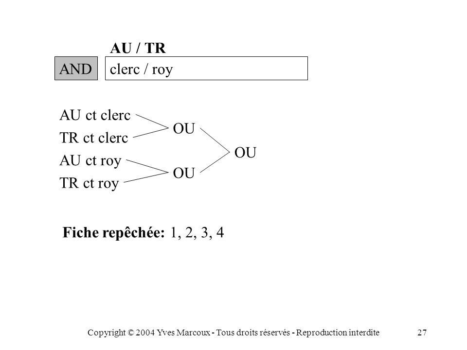 Copyright © 2004 Yves Marcoux - Tous droits réservés - Reproduction interdite27 ANDclerc / roy AU / TR AU ct clerc TR ct clerc AU ct roy TR ct roy OU Fiche repêchée: 1, 2, 3, 4