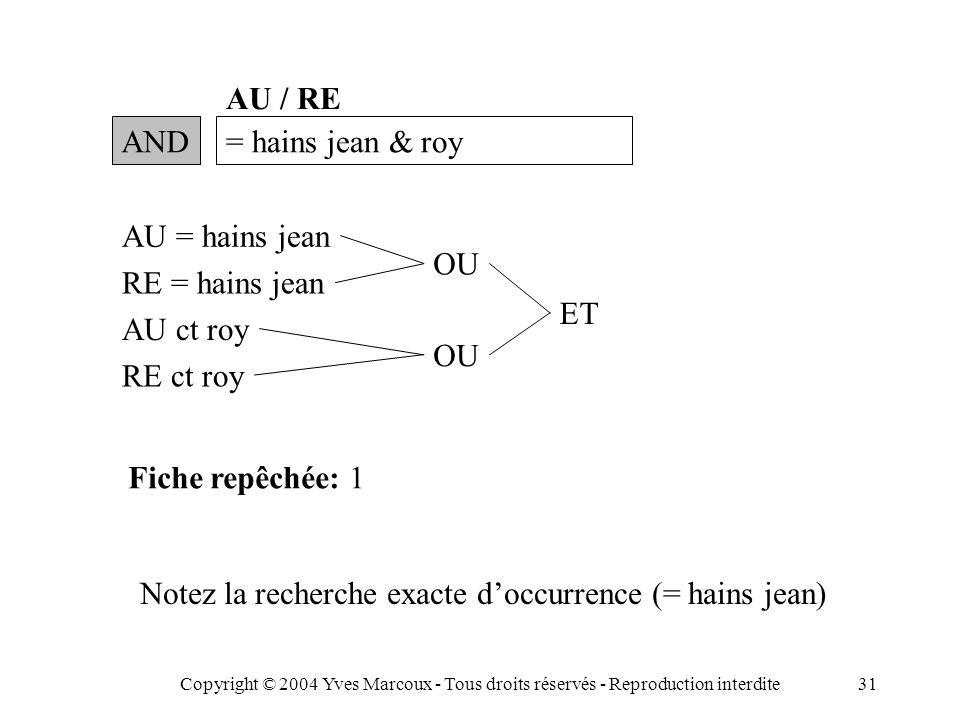Copyright © 2004 Yves Marcoux - Tous droits réservés - Reproduction interdite31 AND= hains jean & roy AU / RE AU = hains jean RE = hains jean AU ct roy RE ct roy OU ET Fiche repêchée: 1 Notez la recherche exacte d'occurrence (= hains jean)