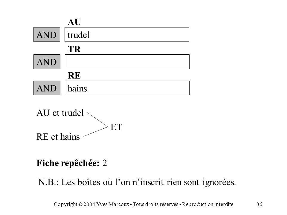 Copyright © 2004 Yves Marcoux - Tous droits réservés - Reproduction interdite36 ANDtrudel AU RE ct hains Fiche repêchée: 2 N.B.: Les boîtes où l'on n'inscrit rien sont ignorées.