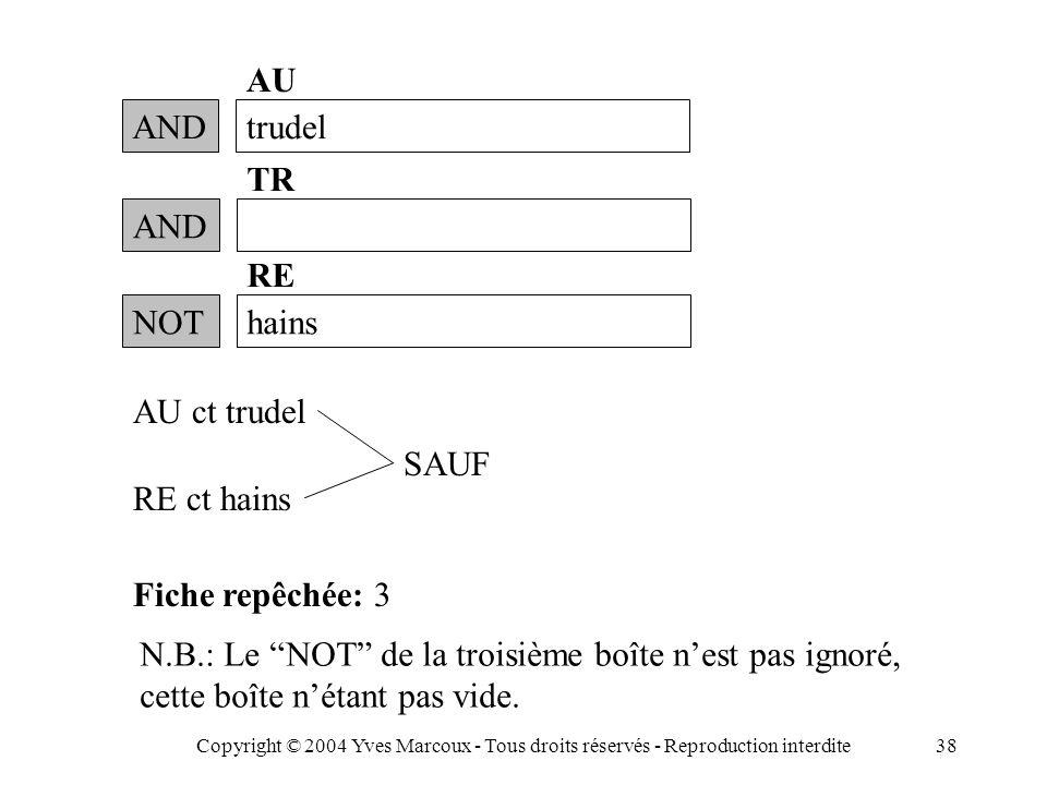 Copyright © 2004 Yves Marcoux - Tous droits réservés - Reproduction interdite38 ANDtrudel AU RE ct hains Fiche repêchée: 3 N.B.: Le NOT de la troisième boîte n'est pas ignoré, cette boîte n'étant pas vide.
