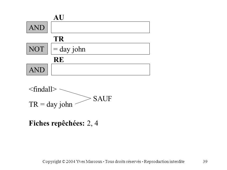Copyright © 2004 Yves Marcoux - Tous droits réservés - Reproduction interdite39 AND AU TR = day john Fiches repêchées: 2, 4 NOT= day john TR AND RE SAUF