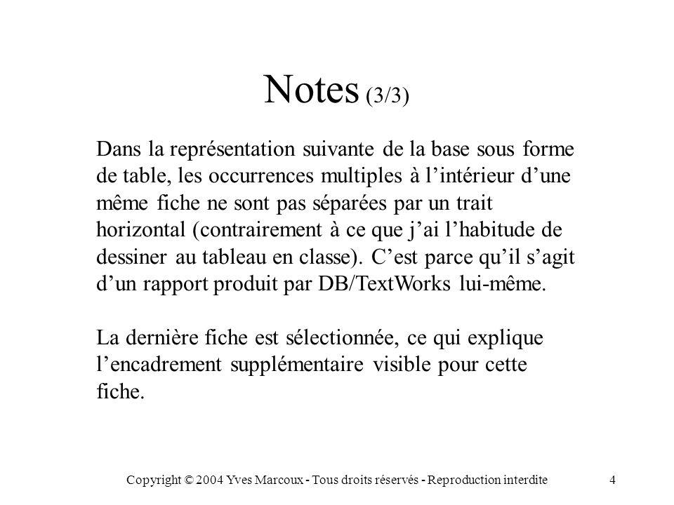 Copyright © 2004 Yves Marcoux - Tous droits réservés - Reproduction interdite4 Dans la représentation suivante de la base sous forme de table, les occurrences multiples à l'intérieur d'une même fiche ne sont pas séparées par un trait horizontal (contrairement à ce que j'ai l'habitude de dessiner au tableau en classe).
