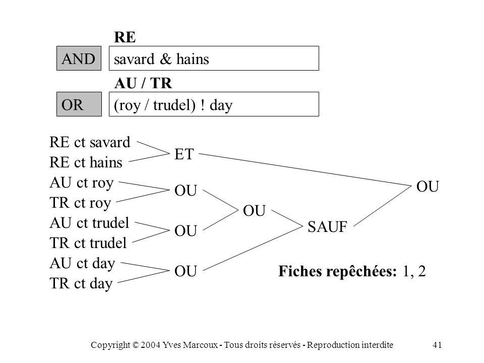 Copyright © 2004 Yves Marcoux - Tous droits réservés - Reproduction interdite41 ANDsavard & hains RE Fiches repêchées: 1, 2 OR(roy / trudel) .