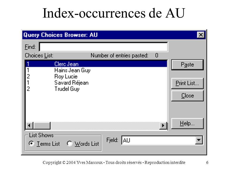 Copyright © 2004 Yves Marcoux - Tous droits réservés - Reproduction interdite6 Index-occurrences de AU