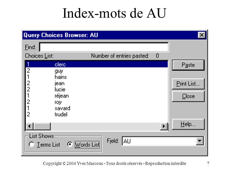 Copyright © 2004 Yves Marcoux - Tous droits réservés - Reproduction interdite7 Index-mots de AU