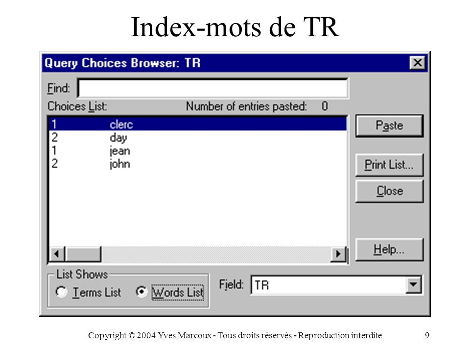 Copyright © 2004 Yves Marcoux - Tous droits réservés - Reproduction interdite10 Index-occurrences de RE