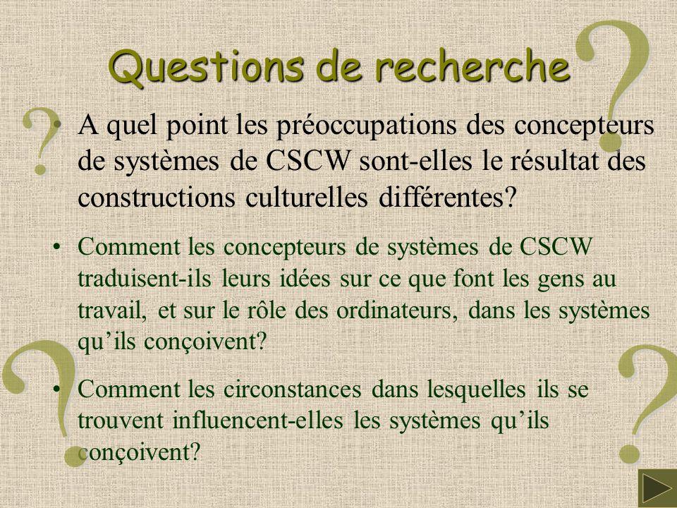 Questions de recherche A quel point les préoccupations des concepteurs de systèmes de CSCW sont-elles le résultat des constructions culturelles différentes.