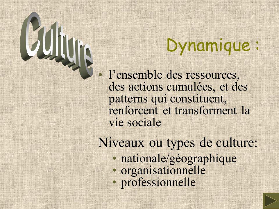 Dynamique : l'ensemble des ressources, des actions cumulées, et des patterns qui constituent, renforcent et transforment la vie sociale Niveaux ou types de culture: nationale/géographique organisationnelle professionnelle