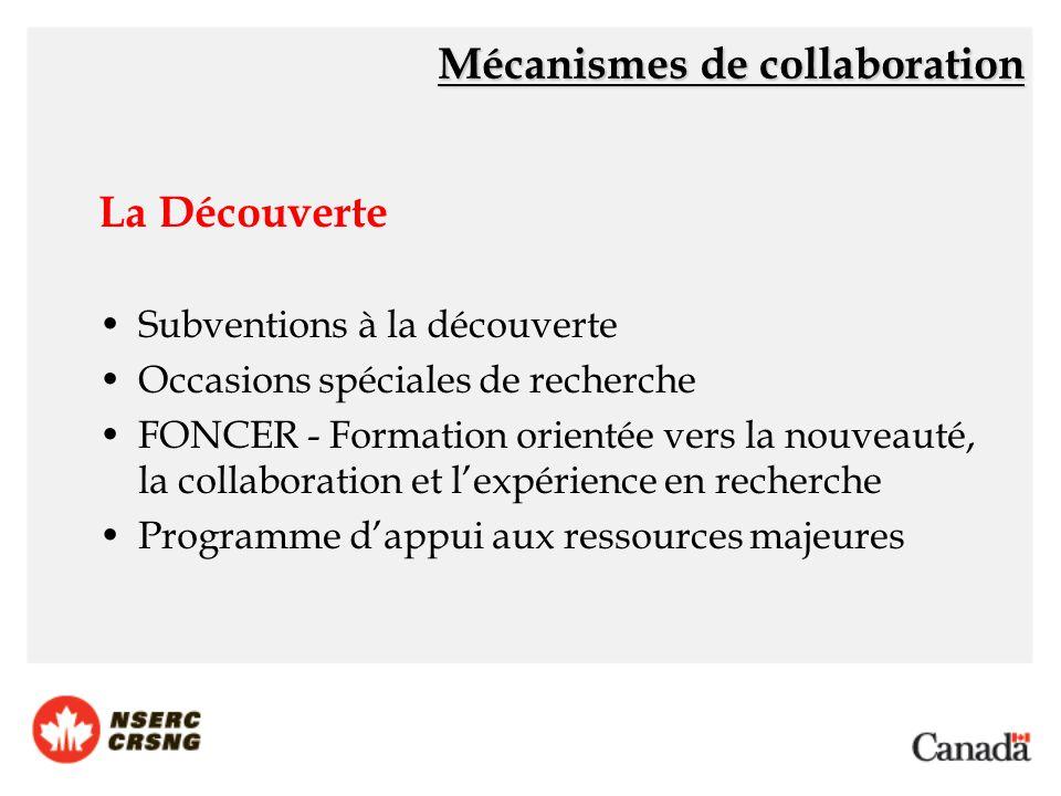 La Découverte Subventions à la découverte Occasions spéciales de recherche FONCER - Formation orientée vers la nouveauté, la collaboration et l'expérience en recherche Programme d'appui aux ressources majeures Mécanismes de collaboration