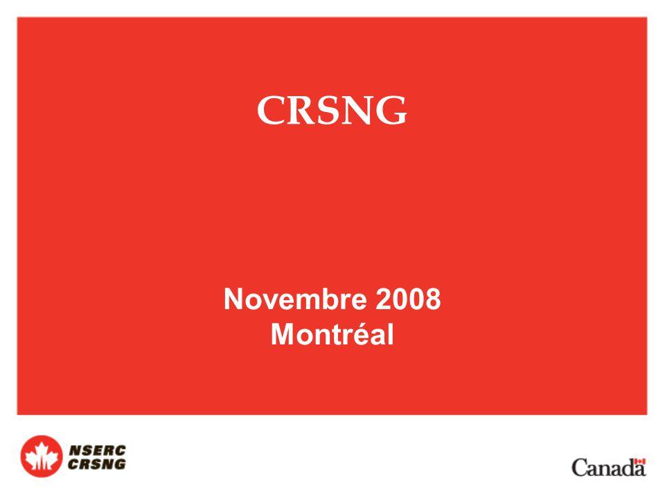 CRSNG Novembre 2008 Montréal