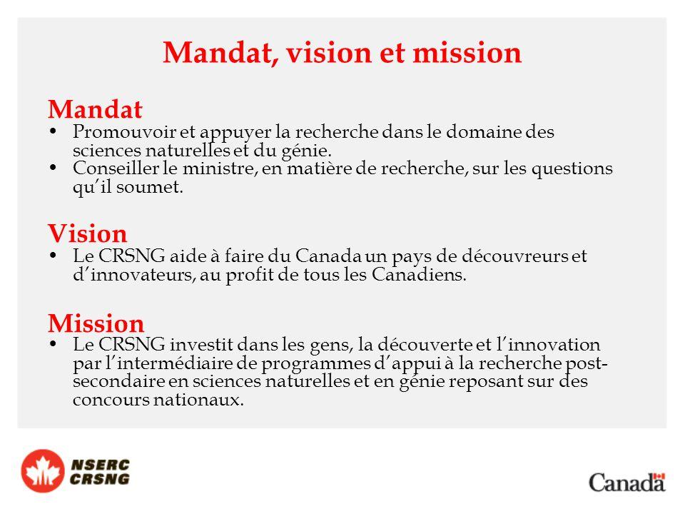 Mandat, vision et mission Mandat Promouvoir et appuyer la recherche dans le domaine des sciences naturelles et du génie. Conseiller le ministre, en ma