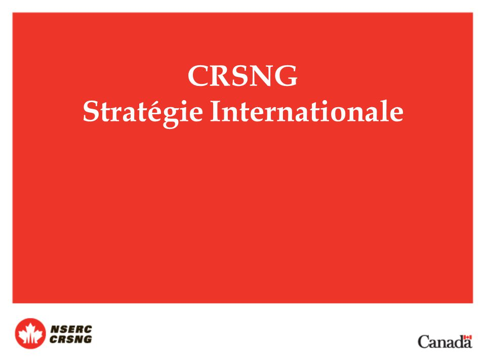 CRSNG Stratégie Internationale