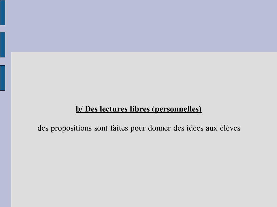 b/ Des lectures libres (personnelles) des propositions sont faites pour donner des idées aux élèves