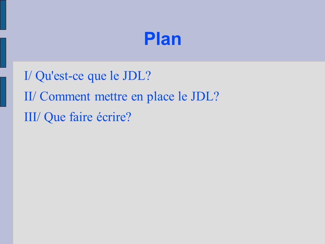 Plan I/ Qu'est-ce que le JDL? II/ Comment mettre en place le JDL? III/ Que faire écrire?