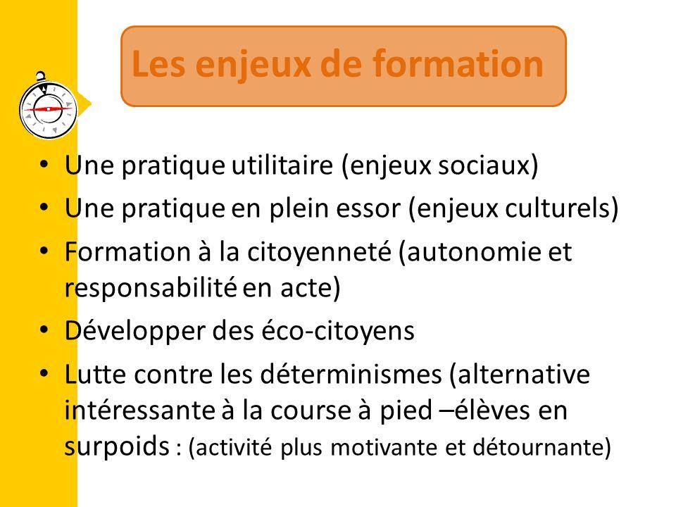 Les enjeux de formation Une pratique utilitaire (enjeux sociaux) Une pratique en plein essor (enjeux culturels) Formation à la citoyenneté (autonomie