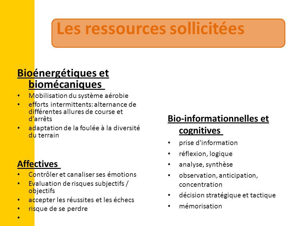 Les ressources sollicitées Bioénergétiques et biomécaniques Mobilisation du système aérobie efforts intermittents: alternance de différentes allures d