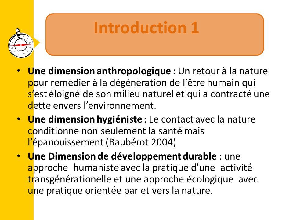 Introduction 1 Une dimension anthropologique : Un retour à la nature pour remédier à la dégénération de l'être humain qui s'est éloigné de son milieu