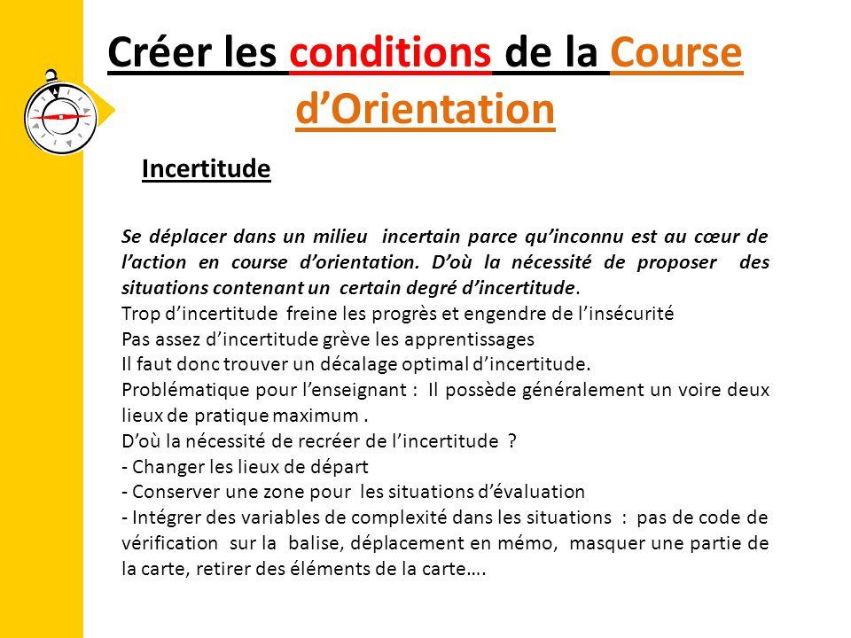 Créer les conditions de la Course d'Orientation Se déplacer dans un milieu incertain parce qu'inconnu est au cœur de l'action en course d'orientation.