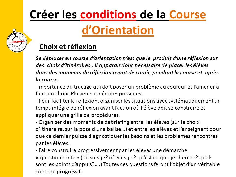 Créer les conditions de la Course d'Orientation Se déplacer en course d'orientation n'est que le produit d'une réflexion sur des choix d'itinéraires.
