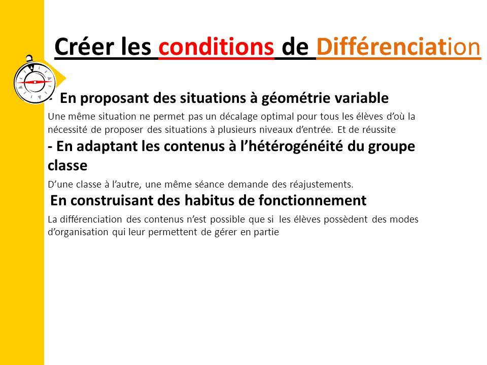 Créer les conditions de Différenciation - En proposant des situations à géométrie variable Une même situation ne permet pas un décalage optimal pour t