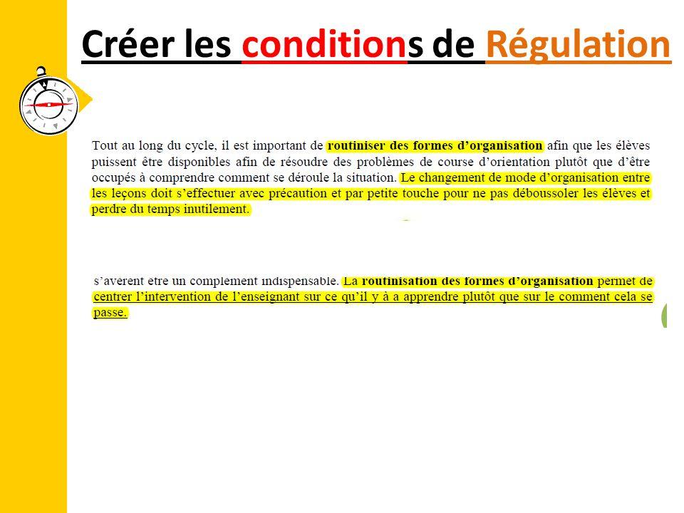 Créer les conditions de Régulation