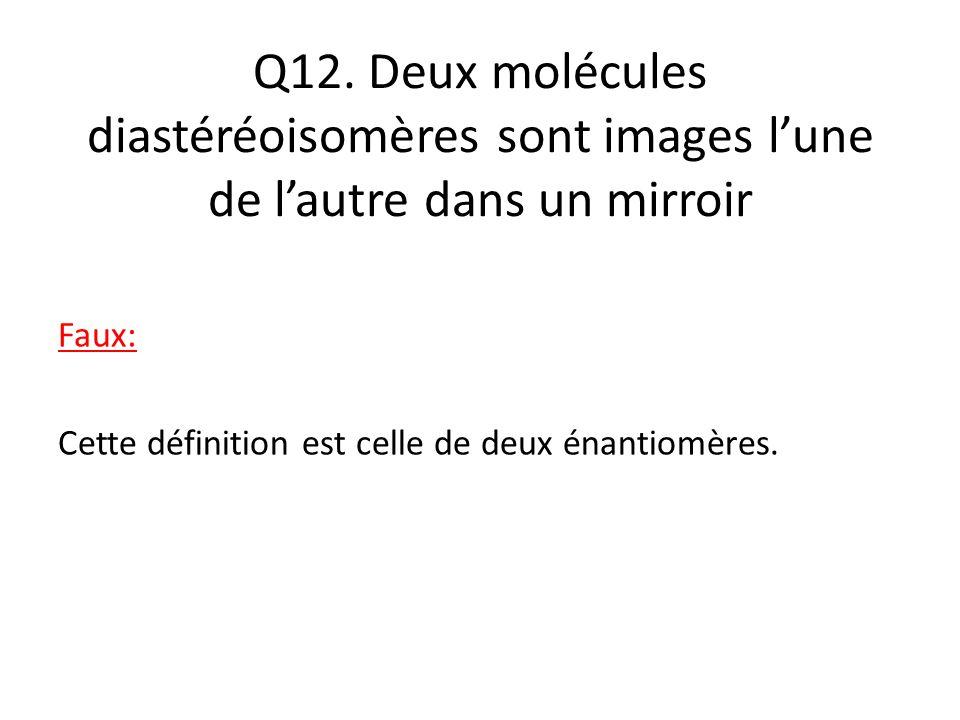 Q12. Deux molécules diastéréoisomères sont images l'une de l'autre dans un mirroir Faux: Cette définition est celle de deux énantiomères.