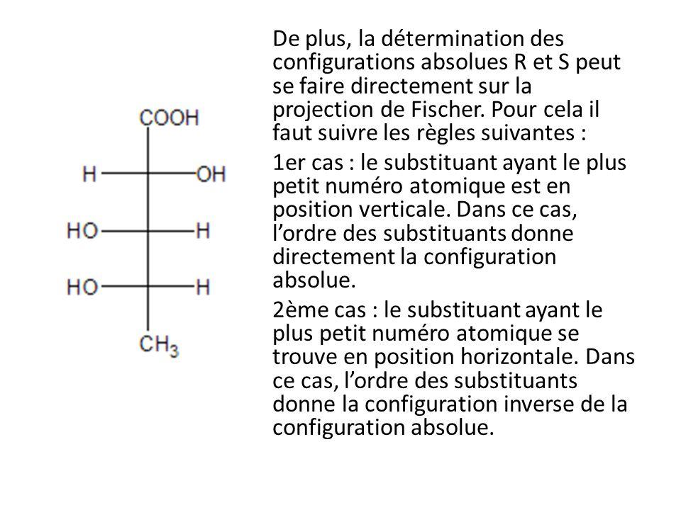 De plus, la détermination des configurations absolues R et S peut se faire directement sur la projection de Fischer. Pour cela il faut suivre les règl
