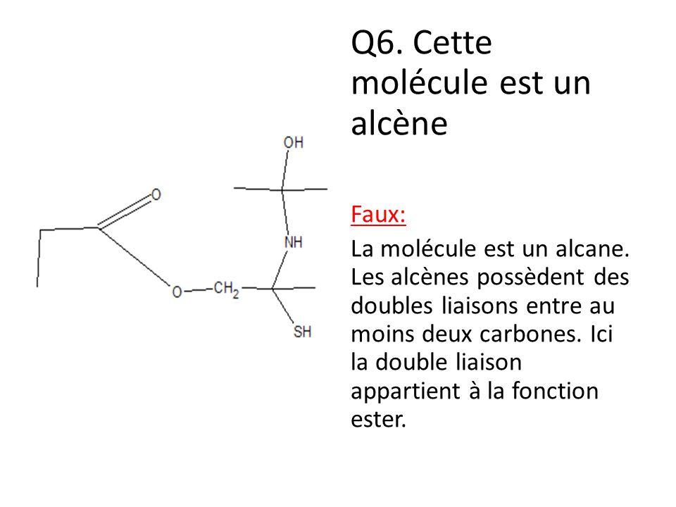 Q6. Cette molécule est un alcène Faux: La molécule est un alcane. Les alcènes possèdent des doubles liaisons entre au moins deux carbones. Ici la doub